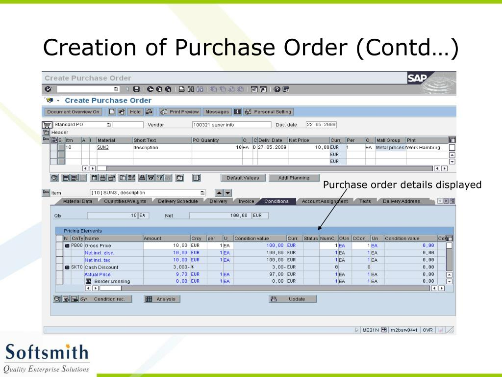 Creation of Purchase Order (Contd…)