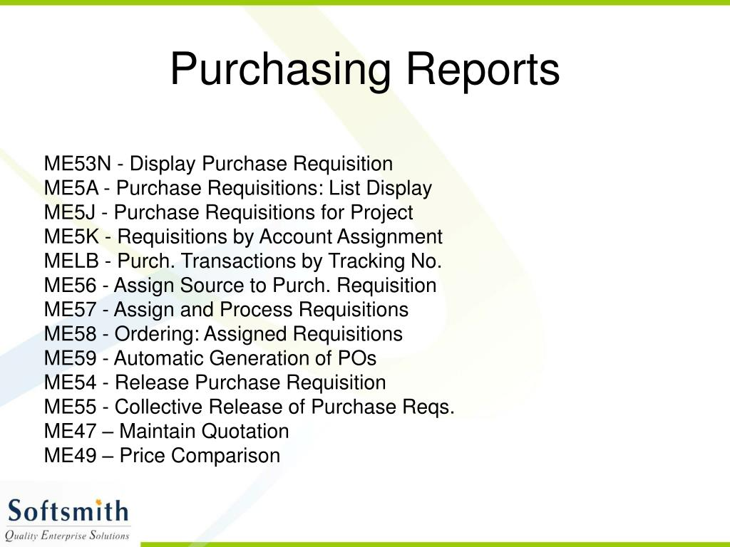 Purchasing Reports