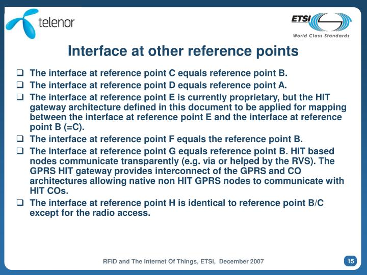 Interface at other reference points