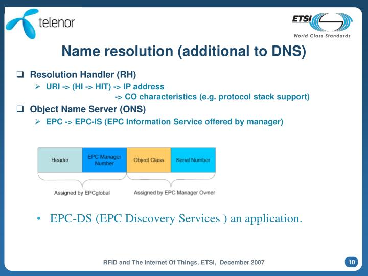 Name resolution (additional to DNS)