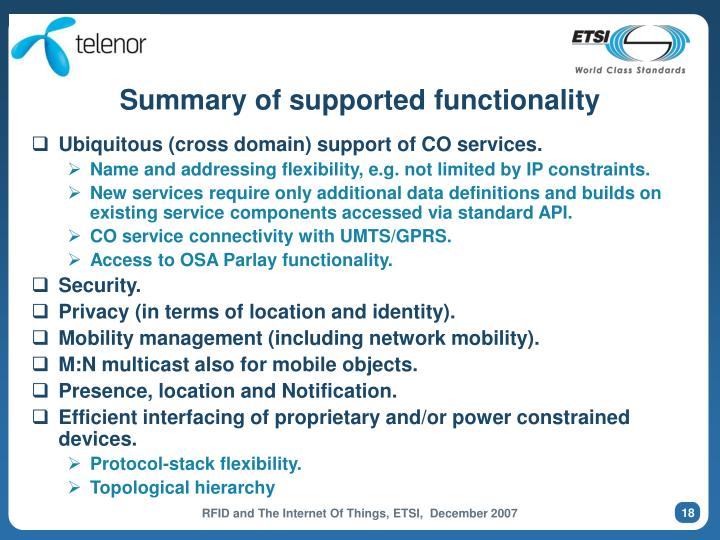 Summary of supported functionality