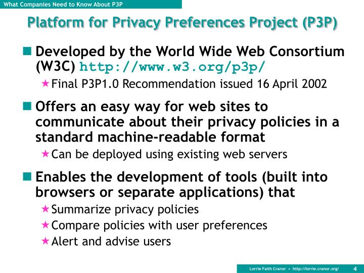 Platform for Privacy Preferences Project (P3P)