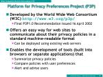 platform for privacy preferences project p3p