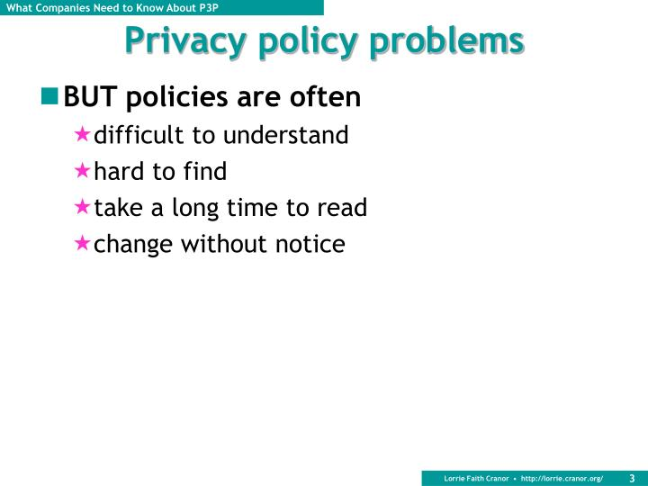Privacy policy problems