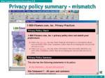 privacy policy summary mismatch