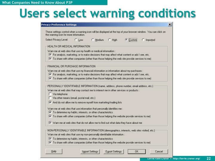 Users select warning conditions