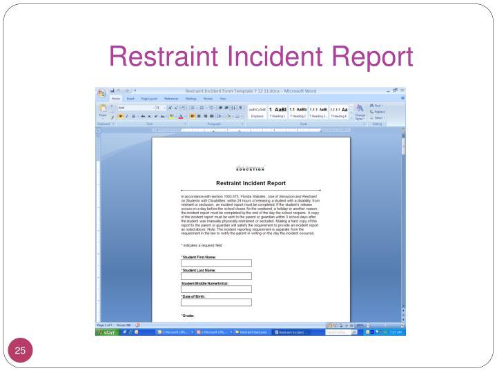 Restraint Incident Report