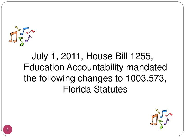 July 1, 2011, House Bill 1255, Education Accountability mandated the following changes to 1003.573, ...