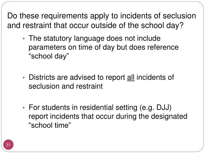 Do these requirements apply to incidents of seclusion and restraint that occur outside of the school day?