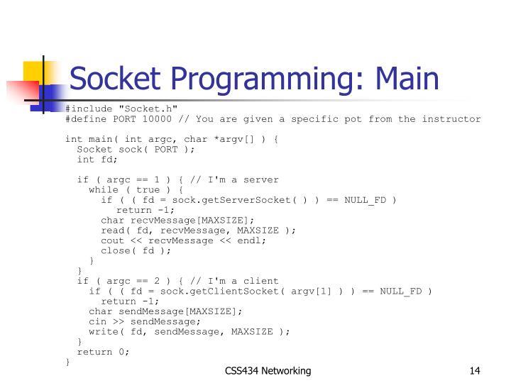 Socket Programming: Main