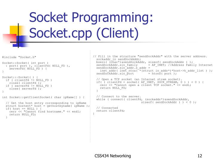 Socket Programming: Socket.cpp (Client)