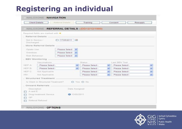 Registering an individual