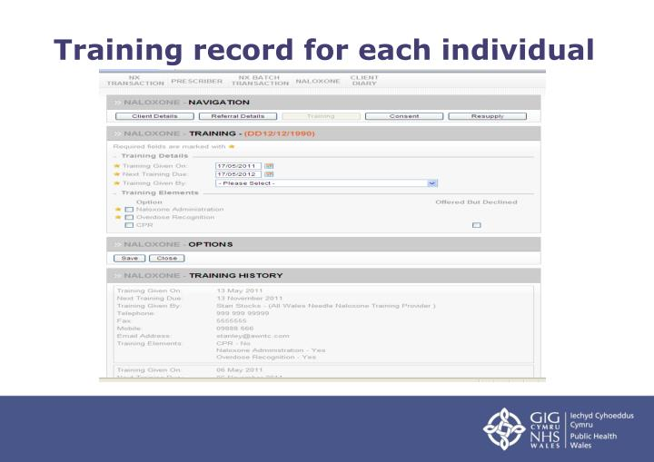 Training record for each individual