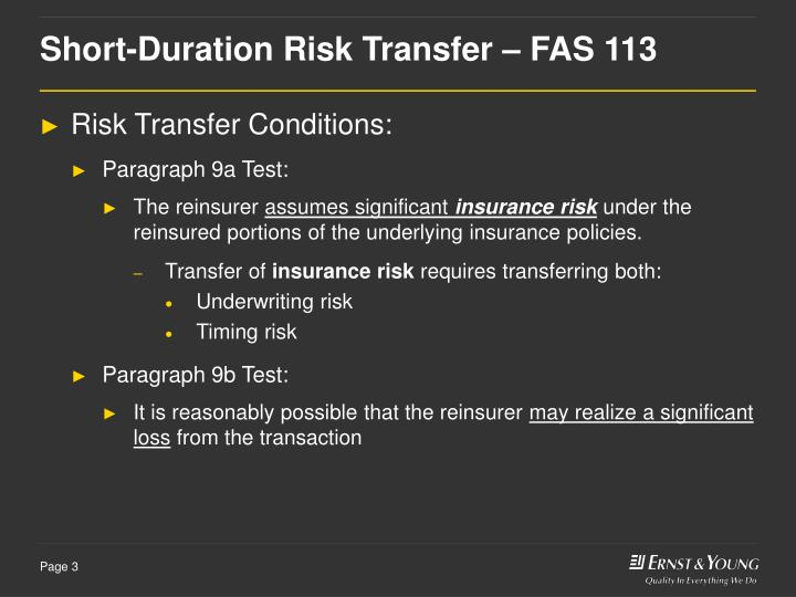 Short duration risk transfer fas 113