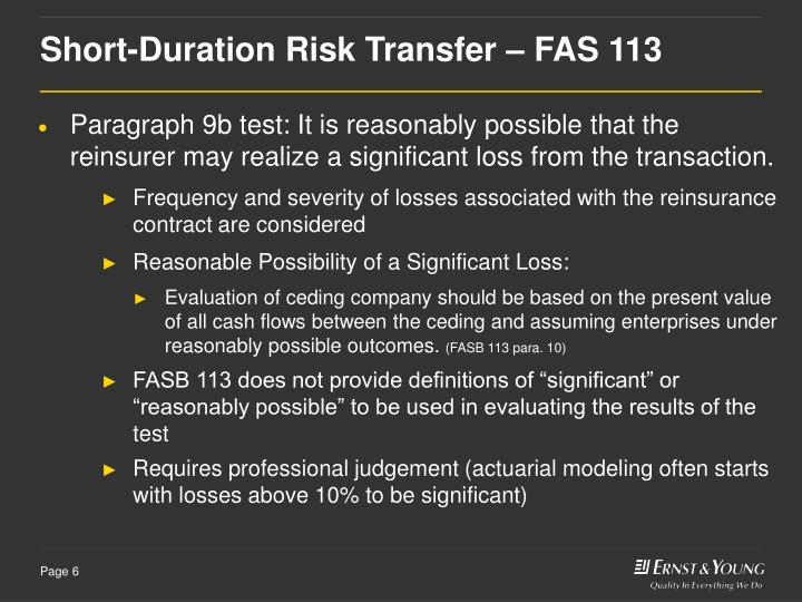 Short-Duration Risk Transfer – FAS 113
