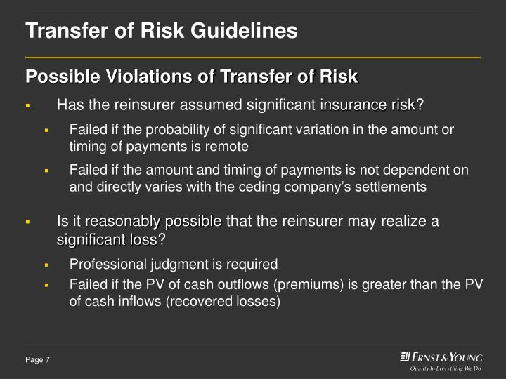 Transfer of Risk Guidelines