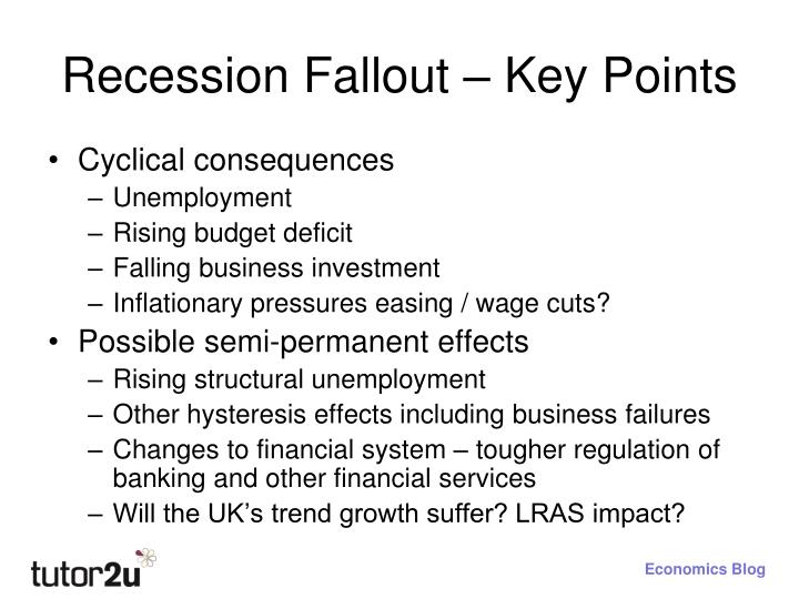 Recession Fallout – Key Points