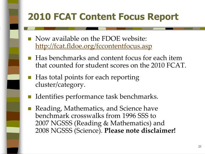 2010 FCAT Content Focus Report