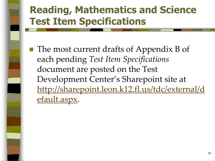Reading, Mathematics and Science Test Item Specifications