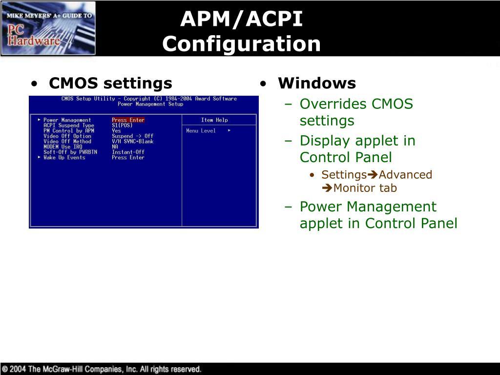 CMOS settings