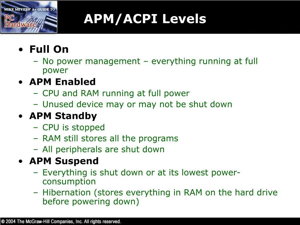 APM/ACPI Levels