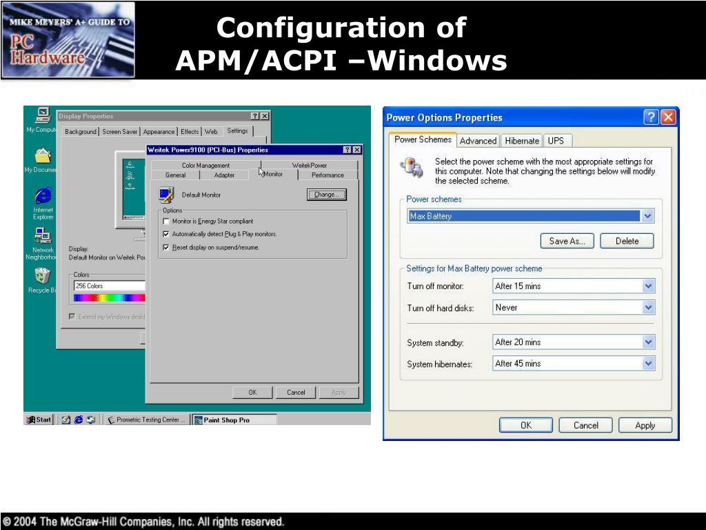 Configuration of APM/ACPI –Windows