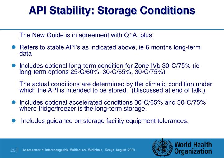 API Stability: Storage Conditions