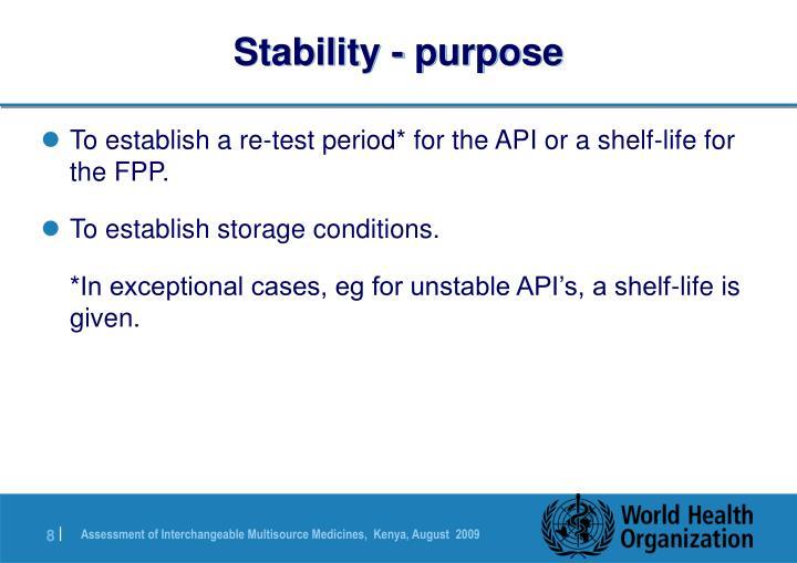 Stability - purpose