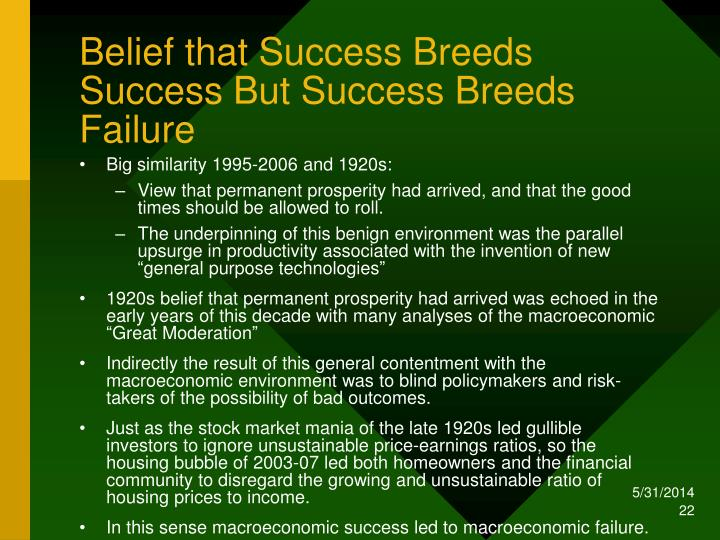 Belief that Success Breeds Success But Success Breeds Failure