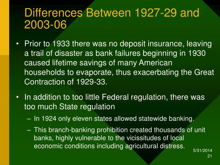 Differences Between 1927-29 and 2003-06