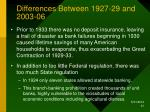 differences between 1927 29 and 2003 06