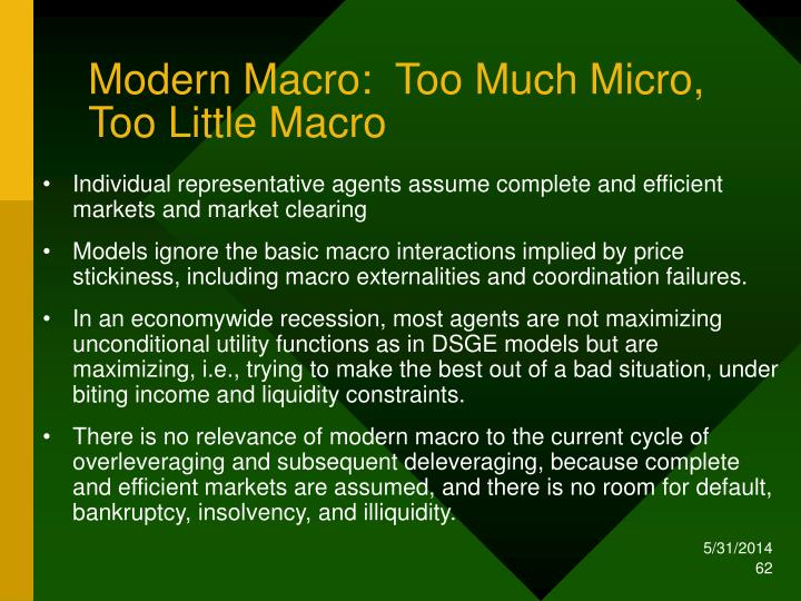 Modern Macro:  Too Much Micro, Too Little Macro