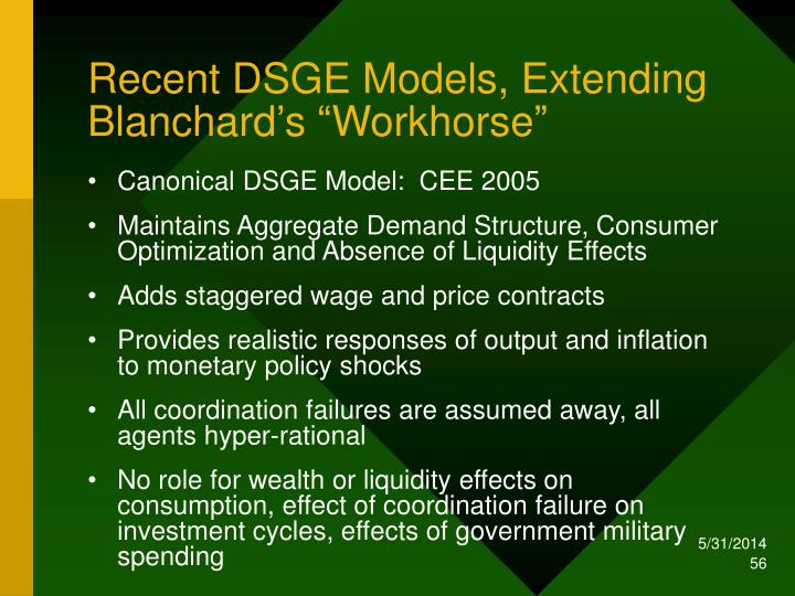 "Recent DSGE Models, Extending Blanchard's ""Workhorse"""