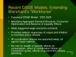 recent dsge models extending blanchard s workhorse