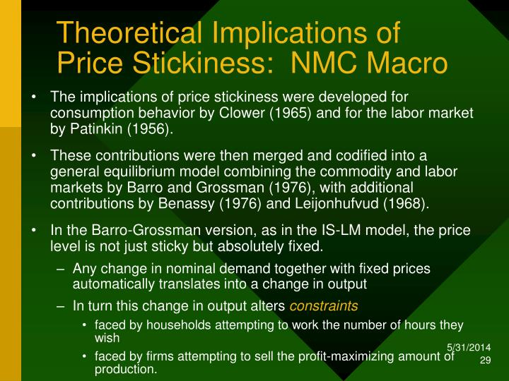 Theoretical Implications of Price Stickiness:  NMC Macro