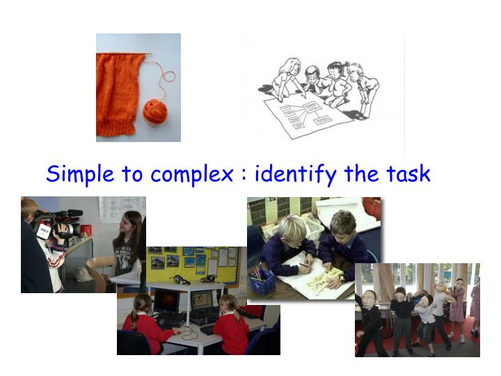 Simple to complex : identify the task