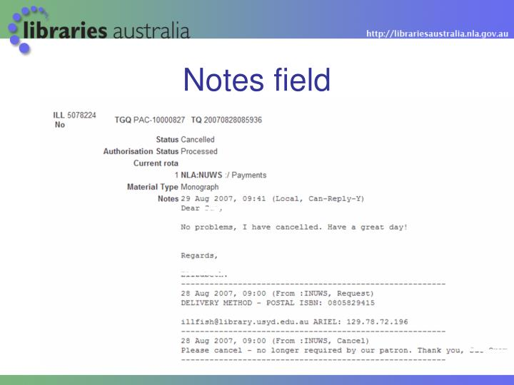 Notes field