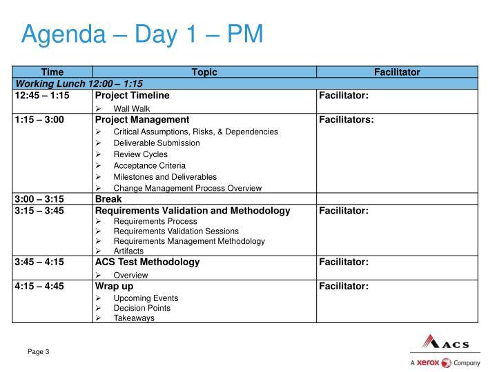 Agenda – Day 1 – PM