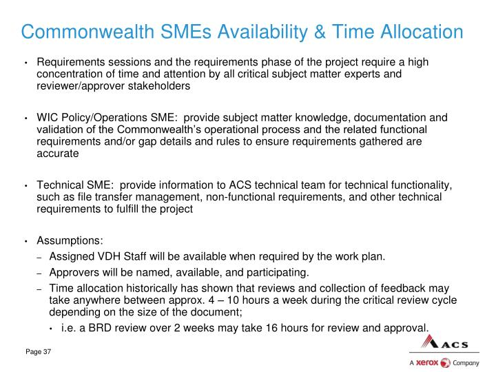 Commonwealth SMEs Availability & Time Allocation