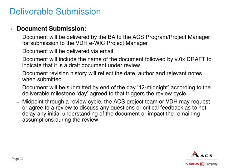 Deliverable Submission