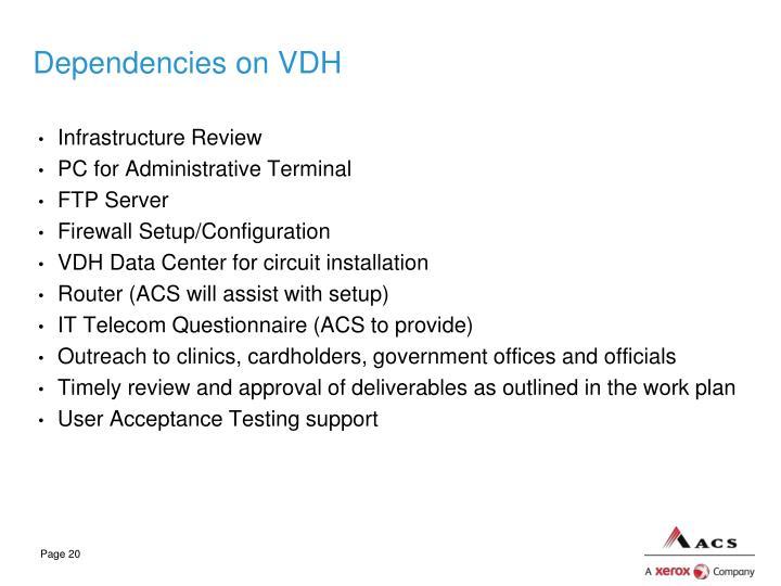 Dependencies on VDH