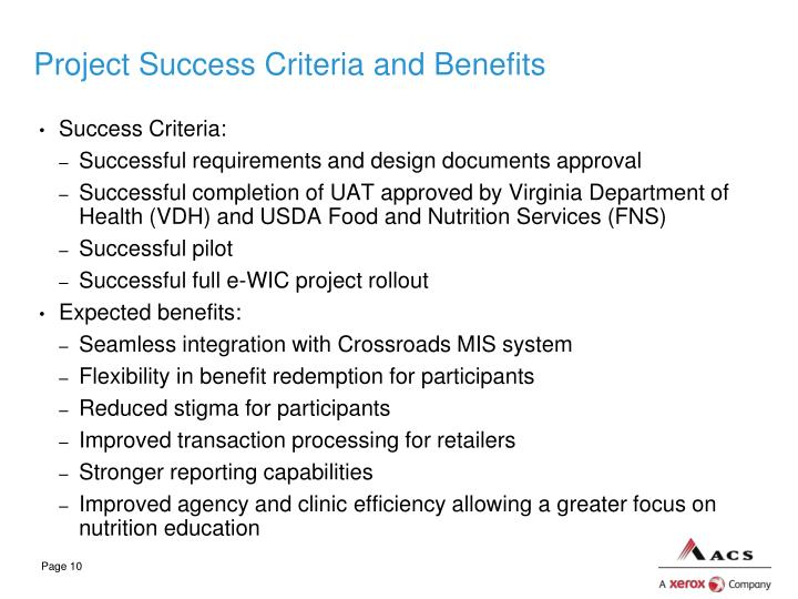 Project Success Criteria and Benefits