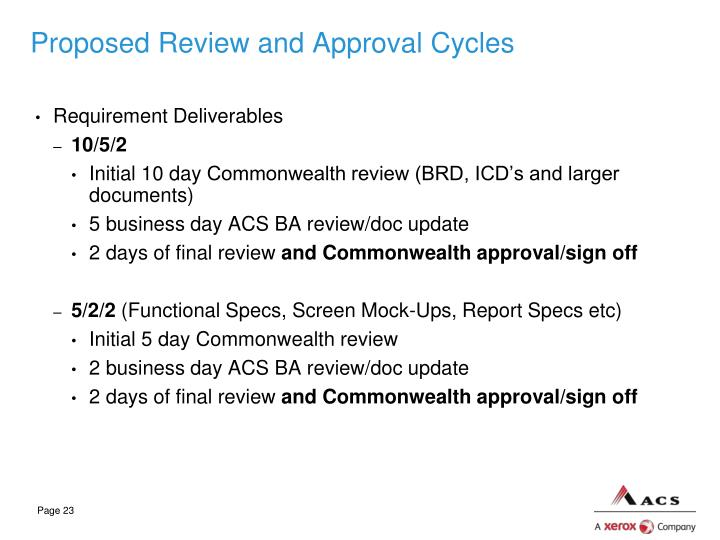 Proposed Review and Approval Cycles