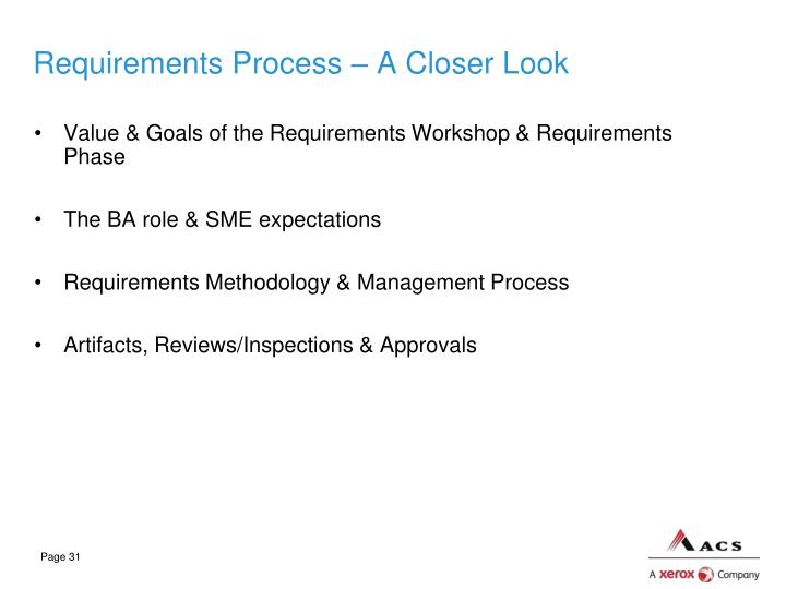 Requirements Process – A Closer Look