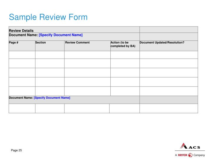 Sample Review Form