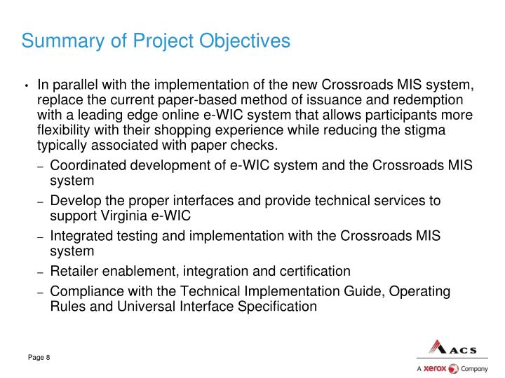 Summary of Project Objectives