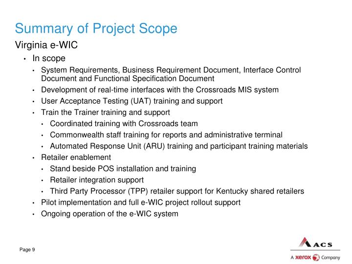 Summary of Project Scope