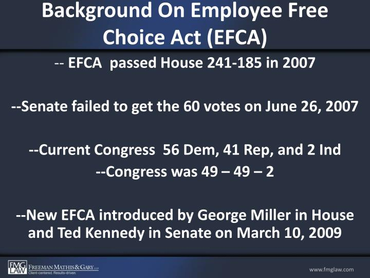 Background On Employee Free Choice Act (EFCA)