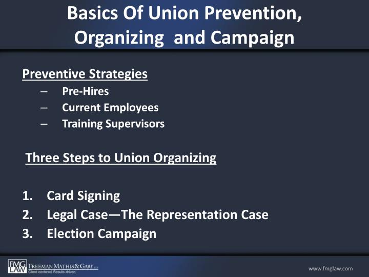 Basics Of Union Prevention, Organizing  and Campaign