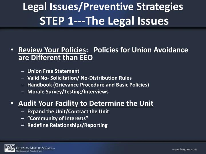 Legal Issues/Preventive Strategies